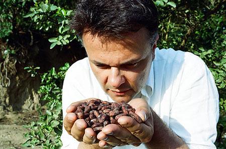 Alessio prüft vor Ort auf den Plantagen die Qualität der Kakaobohnen