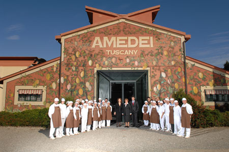 Die Fabrik in Pontadera mit allen Angestellten