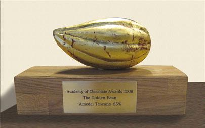 """Die """"Golden Bean"""", verliehen von der Academy of Chocolate 2008"""