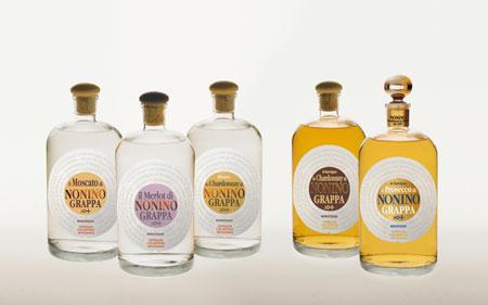 il Moscato, il Merlot, lo Chardonnay bianco, lo Chardonnay, il Prosecco (v.l.n.r.)