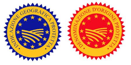 Links das IGP- und rechts das neue DOP-Siegel.