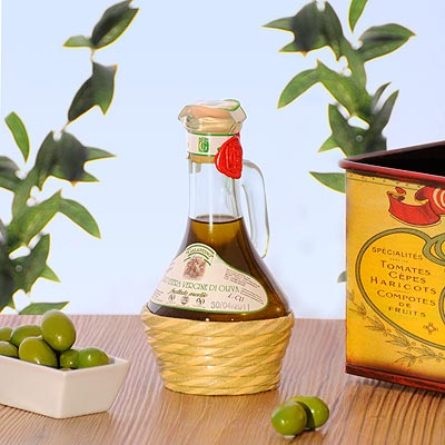 Olivenöl im fiasco.