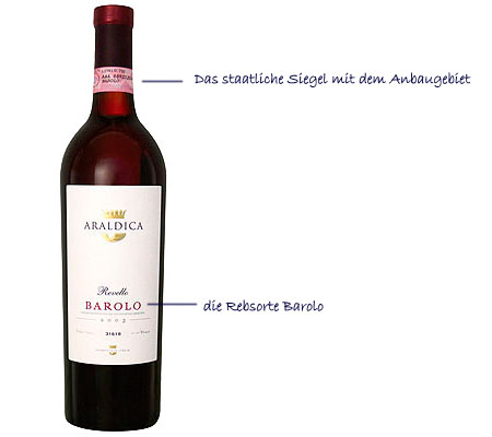 Der DOC-Wein Araldica Barolo.