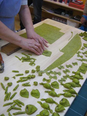 Grüne Pasta im Detail
