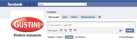 Gustini-Seite auf Facebook
