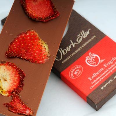 Schokolade mit Erdbeeren