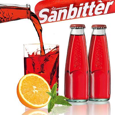 Sanbitter kann man auch mit einer Orangenscheibe servieren