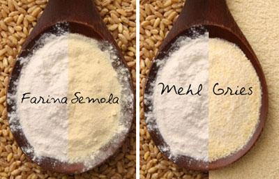 Vergleich: Farina-Semola und Mehl-Grieß