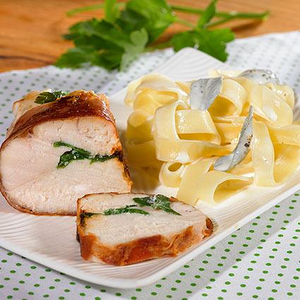 Hühnchenbrust in Parmaschinken mit frischen Kräutern