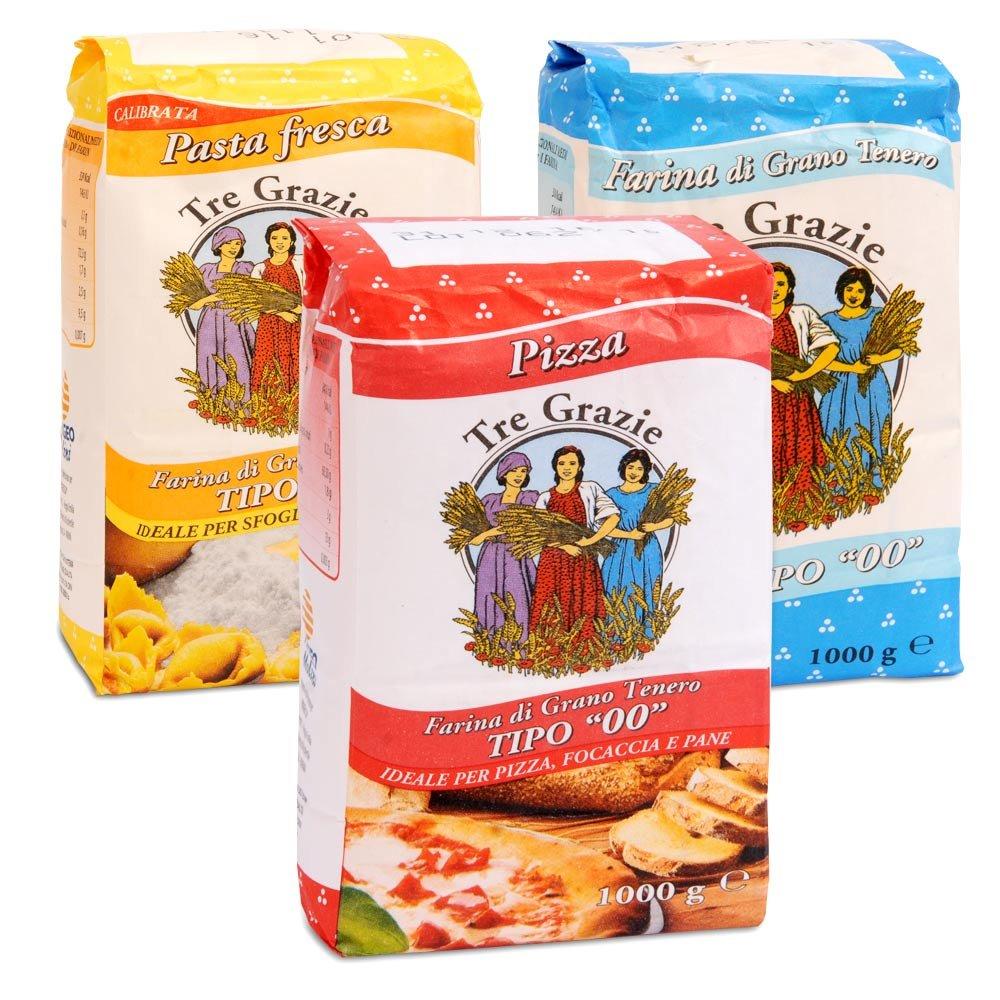 Tre Grazie Probierpaket 3 verschiedene Mehle Pizza und Pasta