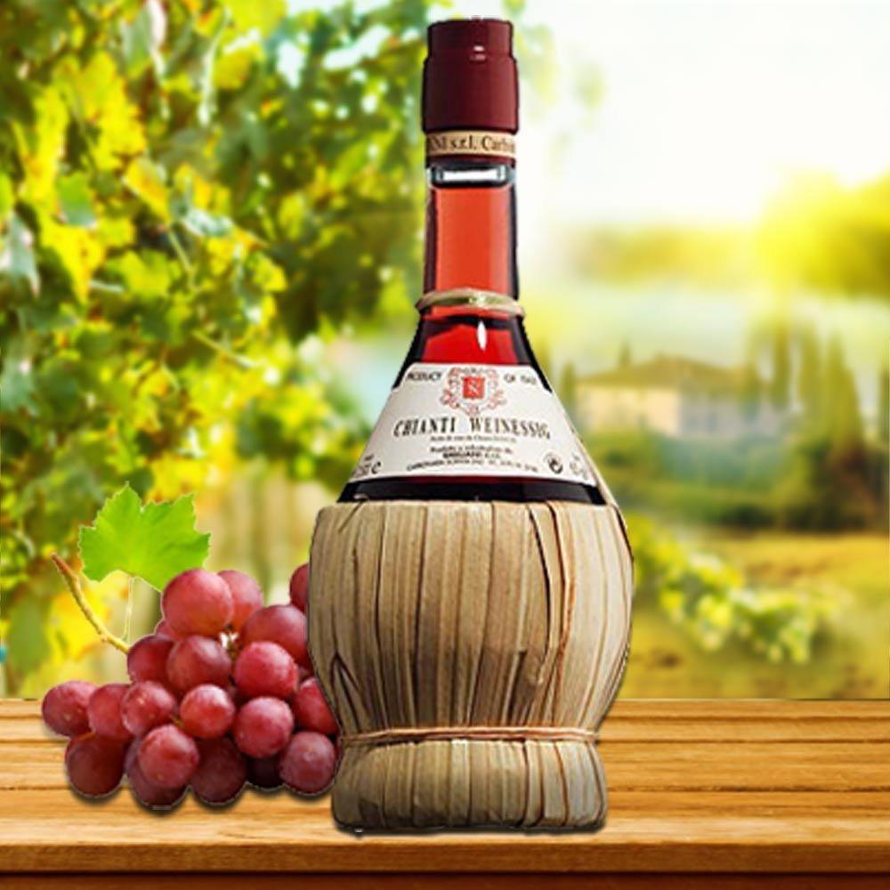 Chianti Weinessig Toskana in der Bastflasche Schmuckflasche