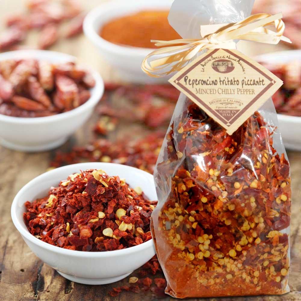 getrocknete Chilis Kalabrien pikante Peperoncino Spezzato Piccante Delizie di Calabria