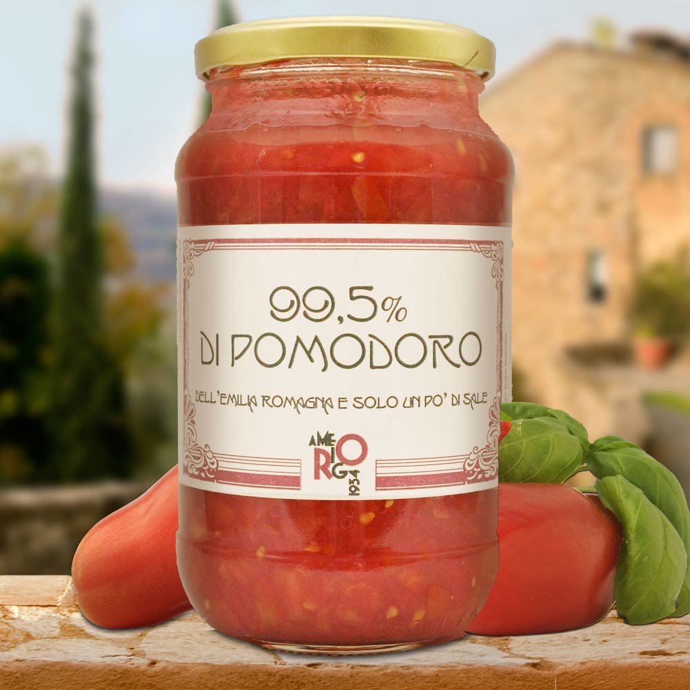 99,5 % Pomodoro grob gehackte Tomaten roh Emilia-Romagna Amerigo 1934