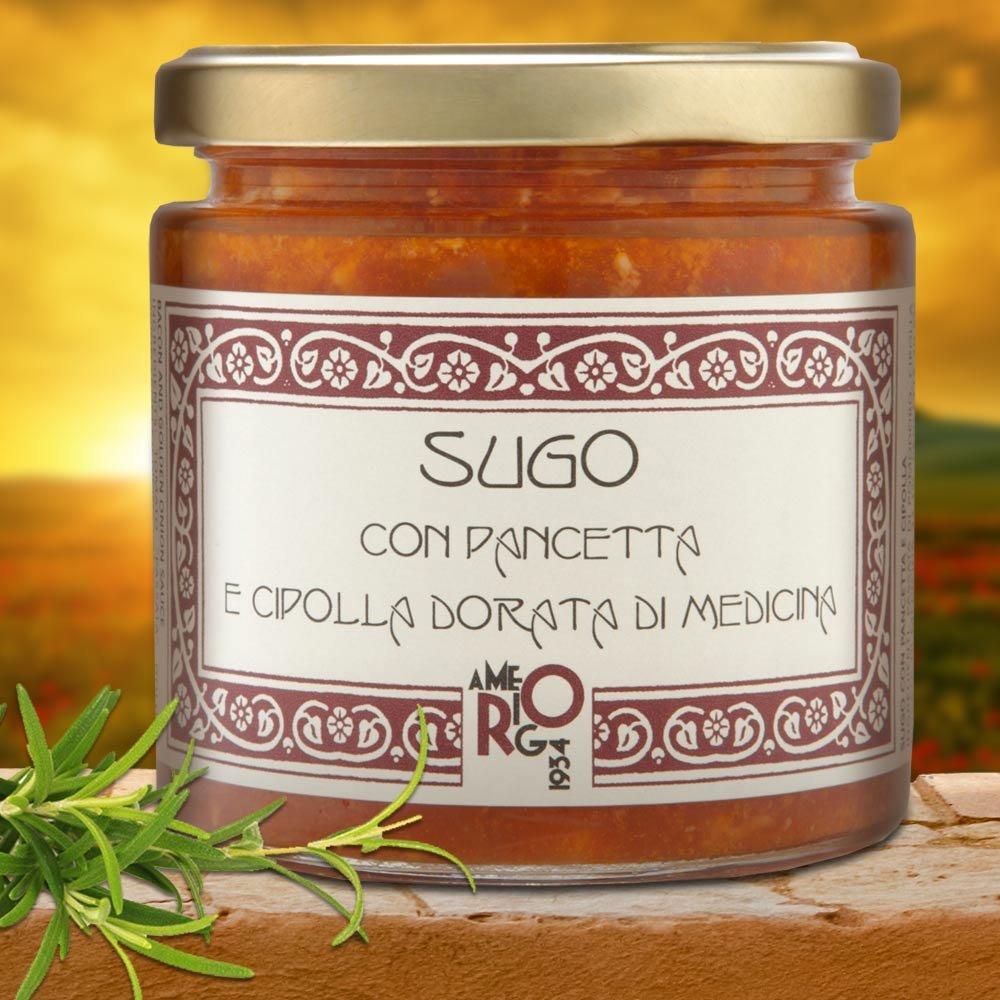 Sugo con Pancetta e cipolla dorata di Medicina Tomatanesauce mit Bauchspeck Emilia Romagna