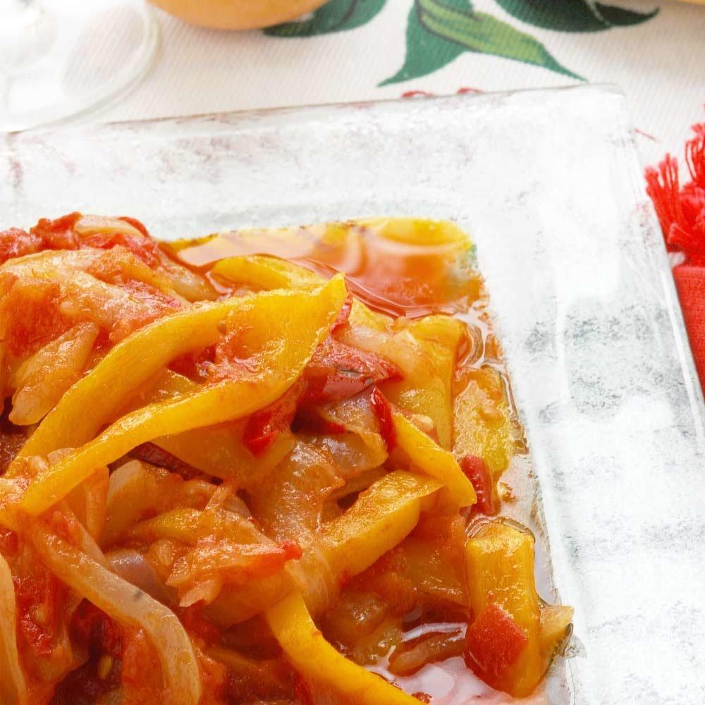 Peperonata Zuccato Antipasto aus Paprika