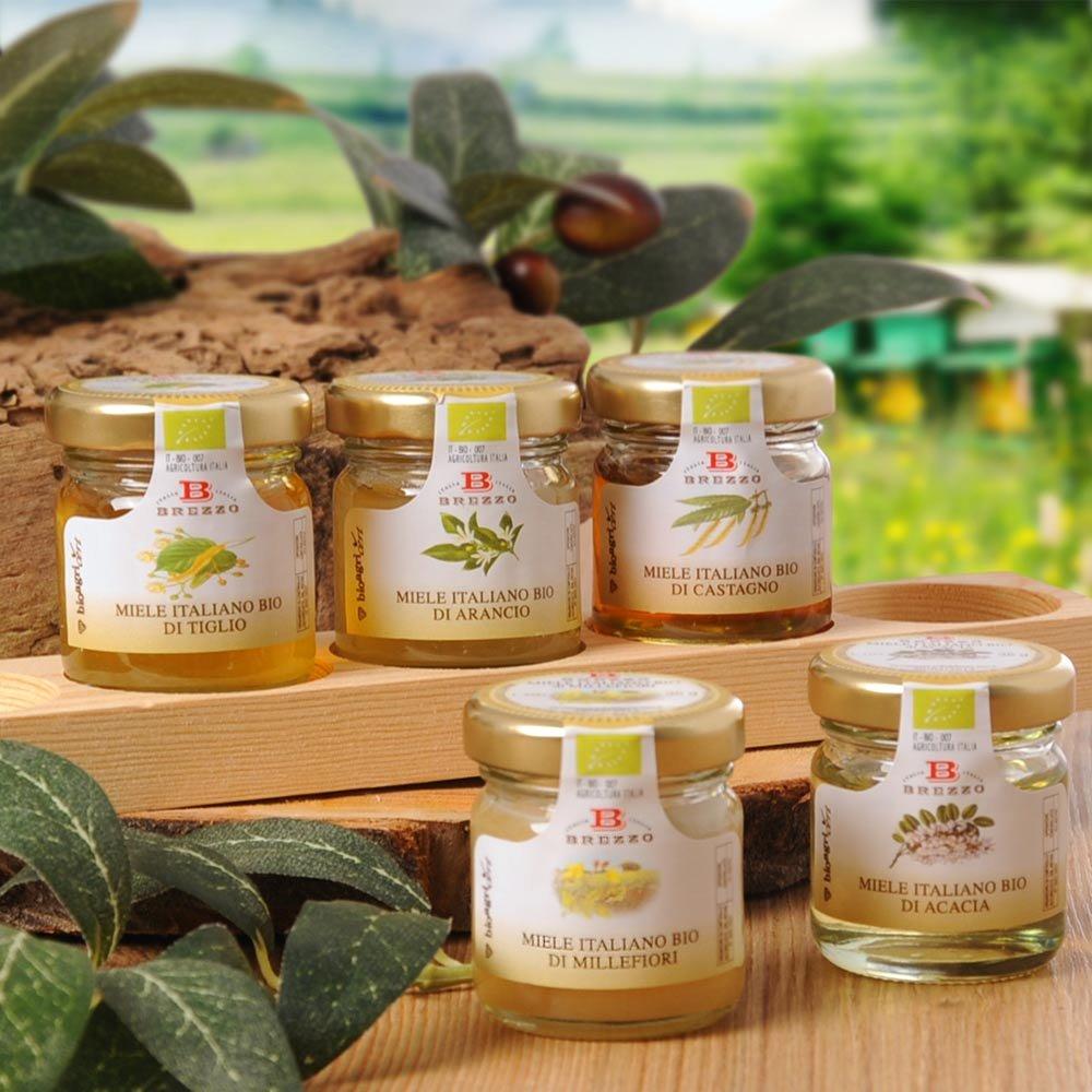 Brezzo Bio Honig Geschenkset fünf Honigvariationen