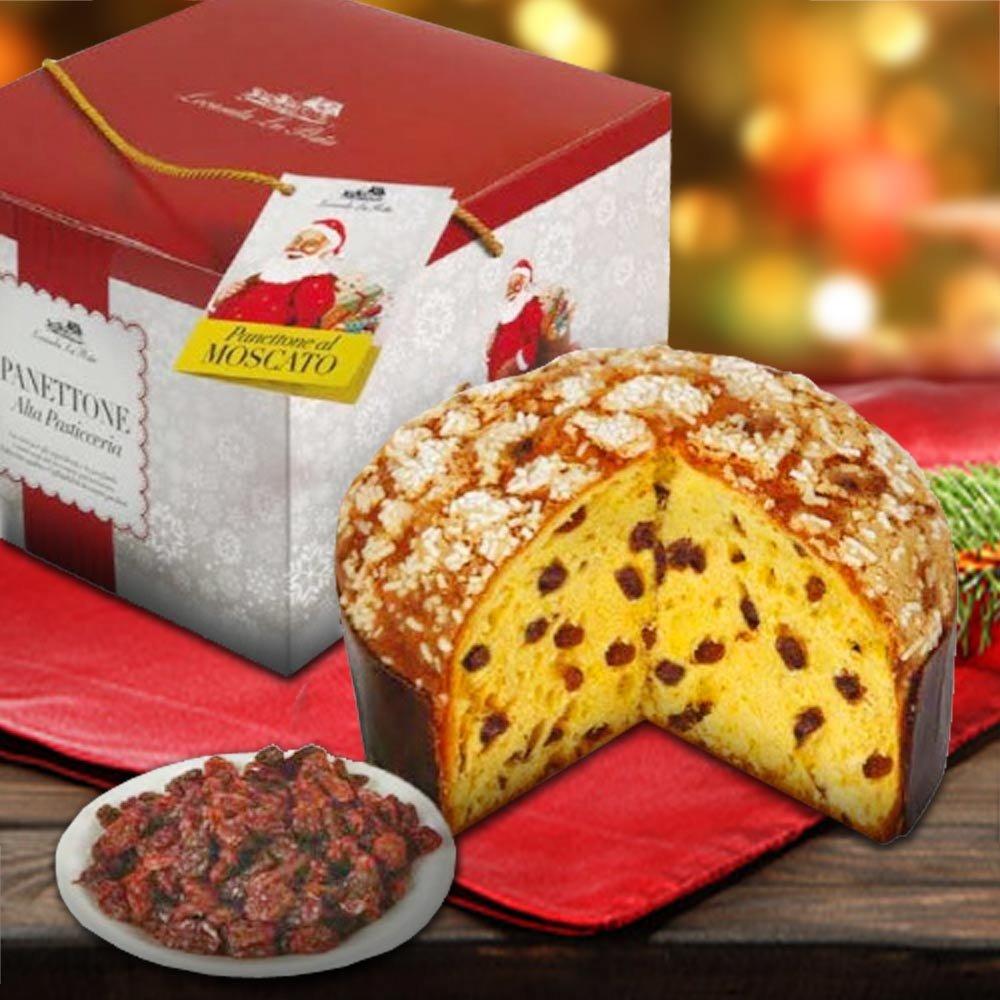 Panettone Moscato Weihnachtskuchen mit Muskatwein und Rosinen