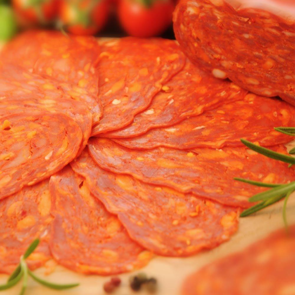 Spianata calabrese piccante geschnitten Scharfe kalabrische Salami
