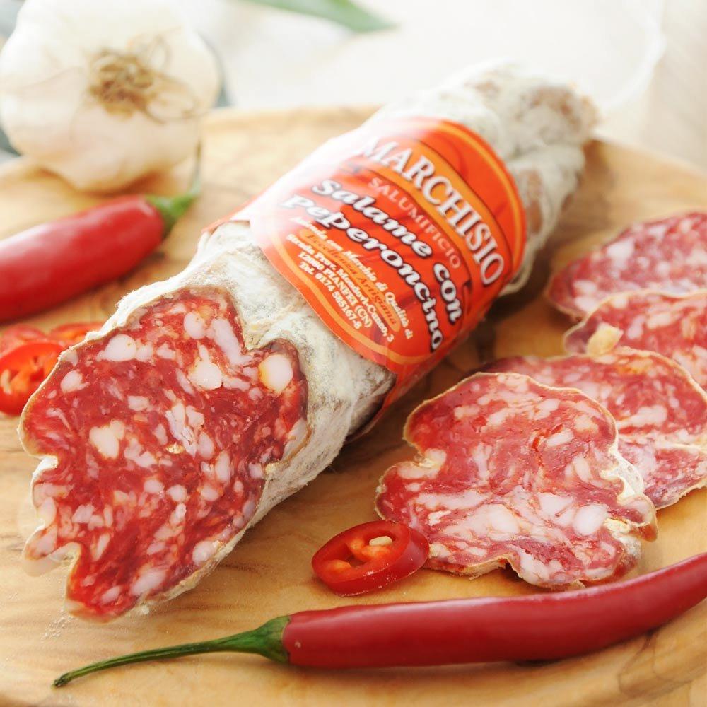 Salame al peperoncino scharfe Salami Piemont Italien