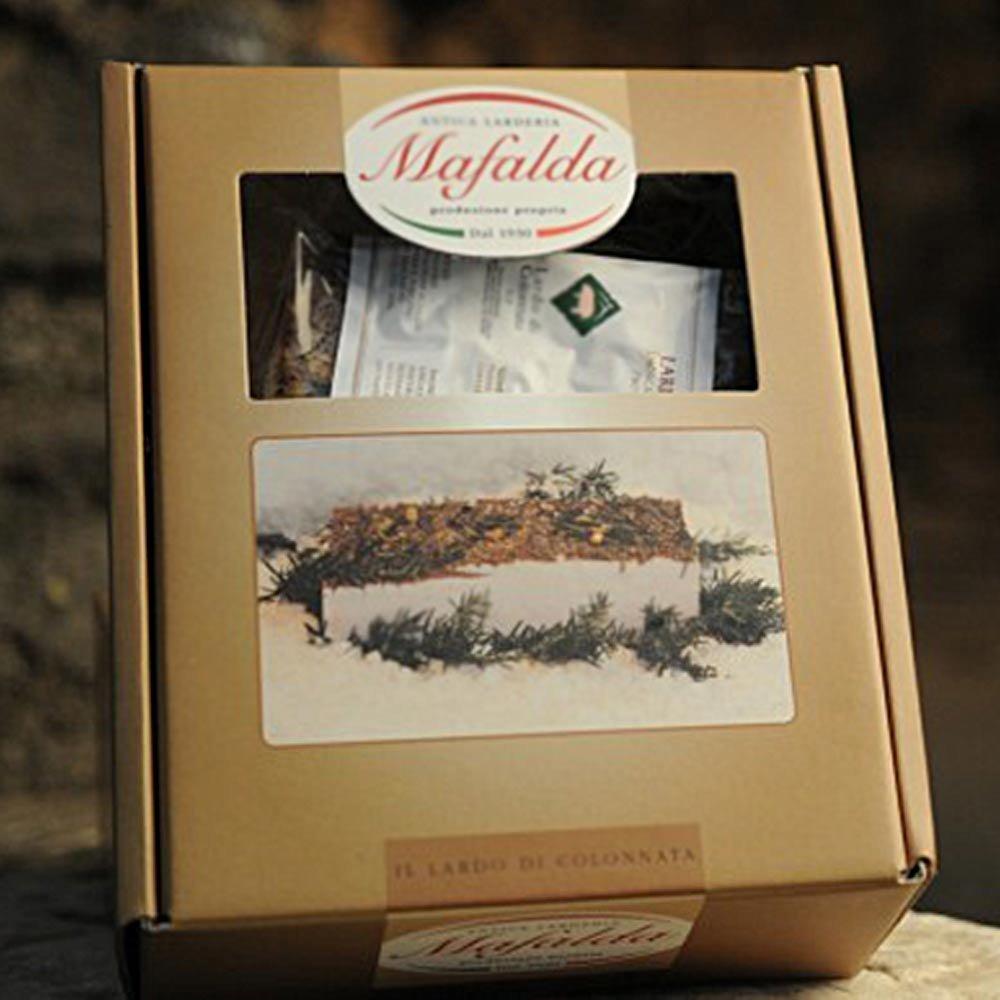 Lardo di Colonnata in Geschenkbox mit Leinentuch
