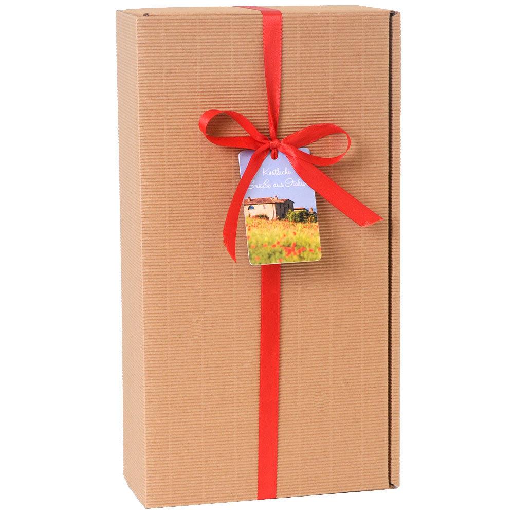 Geschenkkarton f�r 2 Flaschen mit roter Schleife und Geschenkanh�nger Italien