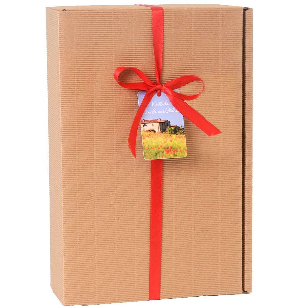 Geschenkkarton für 3 Flaschen mit roter Schleife und Geschenkanhänger Italien