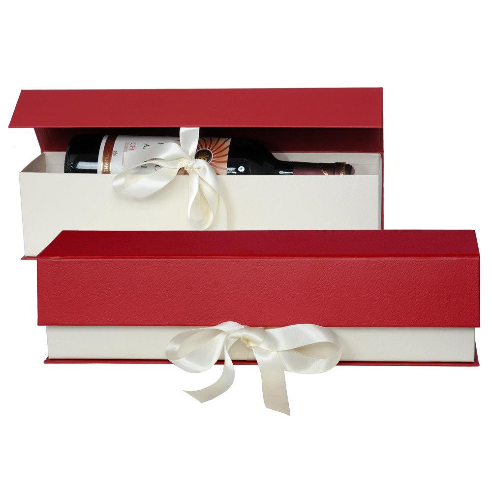 Schatulle mit Schleife f�r 1 Flasche Wein