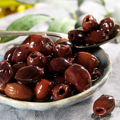 Schwarze Oliven - entsteint, in Olivenöl