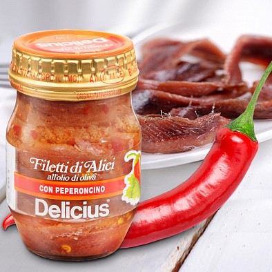 Filetti di alici con peperoncino
