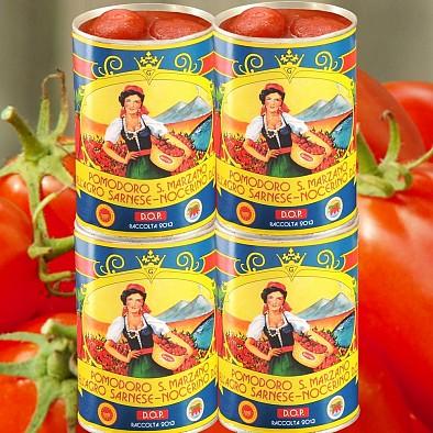 Handgeerntete geschälte San Marzano Tomaten D.O.P. 4 Dosen