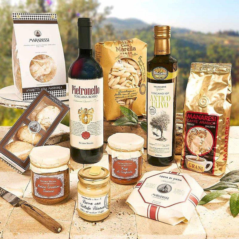 Artikel klicken und genauer betrachten! - Möchten Sie am liebsten die Toskana verschenken? Machen Sie es doch einfach! Im Geschenk finden Sie echte Juwelen dieser Genuss-Region: preisgekrönten Rotwein, Getrüffeltes, Ragù vom Wildschwein, Kaffee, Olivenöl und Co. | im Online Shop kaufen