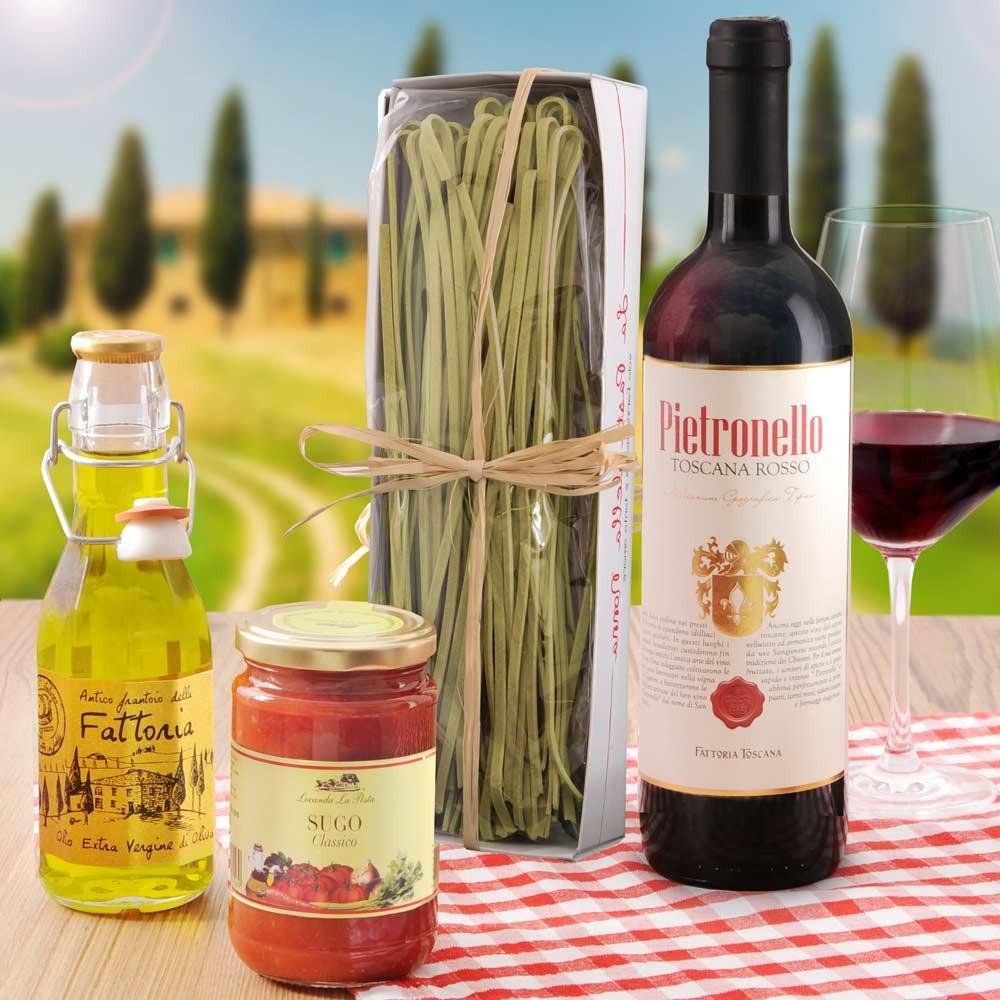 Geschenkset aus Italien - Pasta, Sugo, Öl und Wein | Geschenkideen ...